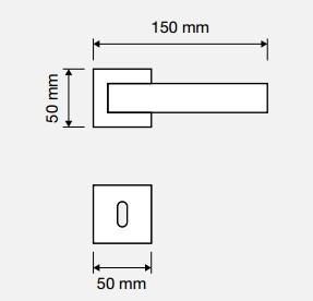 Klamka ZEN Wenge 019 szyld kwadratowy CS chrom matowy LINEA CALI