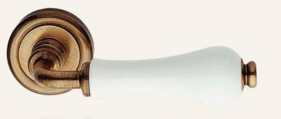 Klamka DALIA 103 porcelana biała OG brązowiony przecierany LINEA CALI