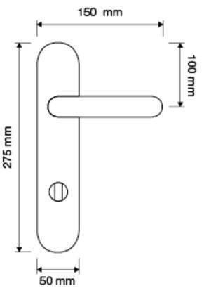 Klamka DELFINO długi szyld WC LINEA CALI